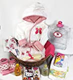 Sunshine Gift Baskets - Baby Bath Robe Gift Set with a Handy Pack (Pink)