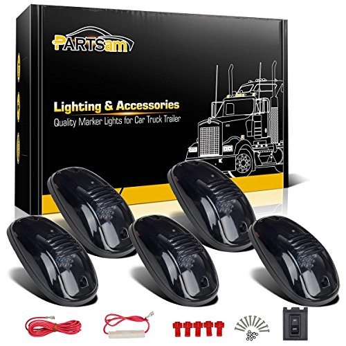 Partsam 5 Smoke Roof Cab Marker Clearance Light Amber LED+Wiring pack for Dodge Ram 1500 2500 3500 4500 5500 (2005 Dodge 2500 Cab Lights compare prices)
