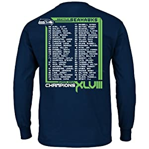 Seattle Seahawks 2013 Super Bowl Champs Roster Long Sleeve Championship T-shirt by NFL
