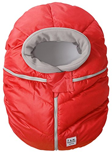 7AM Enfant Car Seat Cocoon: Infant Car Seat Cover Micro-Fleece Lined with an Elasticized Base, Red
