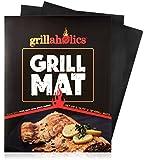 Grillaholics Grill Mat - Lifetime Guarantee - Set of 2 Nonstick BBQ Grilling Mats - 15.75 x 13 Inch