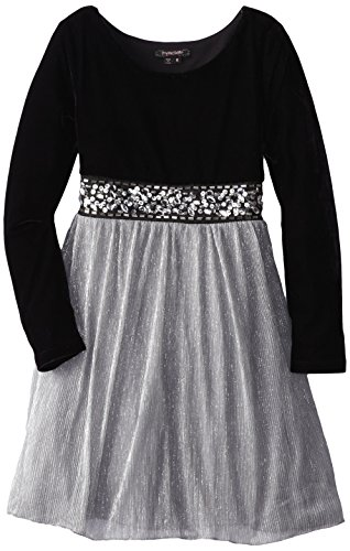 My Michelle Big Girls' Velvet Bodiced Dress With Pleated Skirt, Silver, 8 front-157228