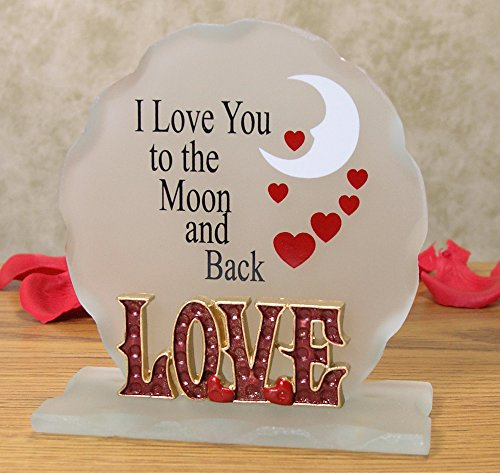 I Love You To The Moon and Back - Frosted Glass Sign - Desktop Plaque with a Loving, Inspirational Saying - I Love You (Tabletop Love Sign compare prices)