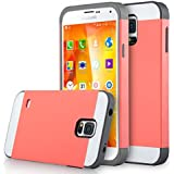 Galaxy S5 Case, ULAK Samsung Galaxy S5 Case - 2in1 Hybrid Dual Layer Protective Case Cover (Plastic Hard Shell and Fexible TPU) Shock-Absorption / Impact Resistant Slim Case for Galaxy S5 / Galaxy SV / Galaxy S V / Galaxy i9600 2014 (Coral Pink/Gray)