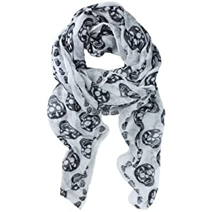 DGI MART Girl Lady Decorative Scarf Long Soft Wrap Shawl Skull Pattern Print Chiffon Long Scarf Scarves Stole -White from DGI MART