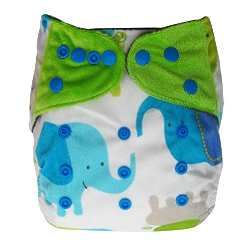 Minky Charcoal Bamboo AIO All-in-one Cloth Diaper with Pocket, Elephant