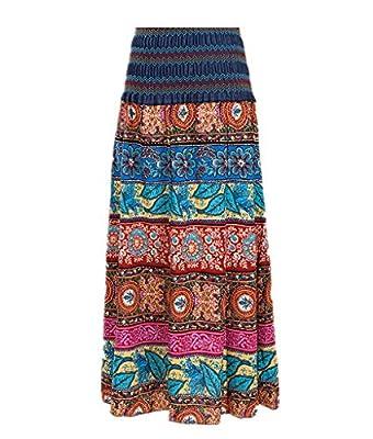 HYBamnbo Women Fashion Fit Cotton Vintage Print Strapless Beach Maxi Skirts