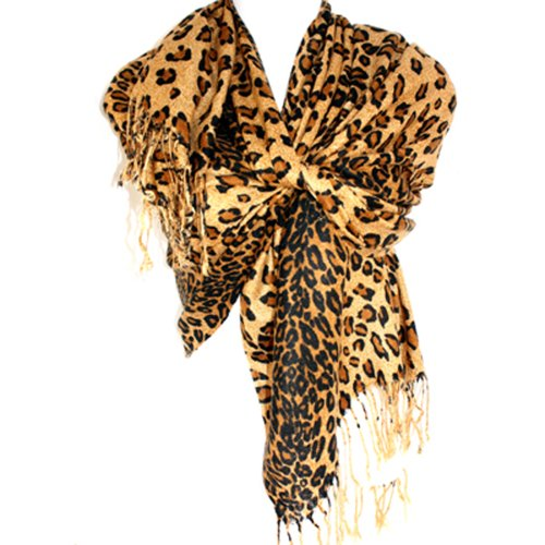 Graduated-Leopard-Animal-Print-Pashmina-Soft-Shawl-Scarf-Stole-By-Silver-Fever-Brand-CoffeeBrown