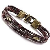 Jstyle Mens Vintage Leather Wrap Wrist Band Brown Rope Bracelet