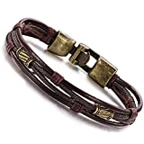 Jstyle Mens Vintage Leather Wrap Wrist Band Brown Rope Bracelet