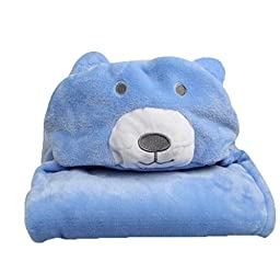 niceEshop(TM) 3D Bear Baby Infant Newborn Hooded Bath Towel Blankets (Blue)