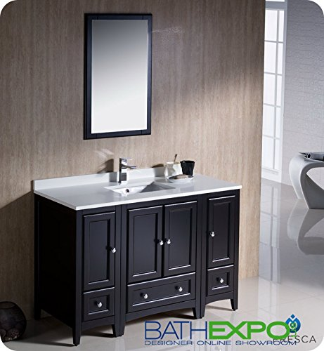 "Oxford 48"" Traditional Bathroom Vanity Set Finish: Espresso front-363568"