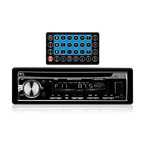 AGPTek CS02 - Autoradio con Lettore CD, FM/ AM, USB, SD, AUX, Bluetooth, Nero