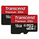 Transcend Premium microSDHC Class 10 UHS-I Memory Card 2x 16GB (2-pack)