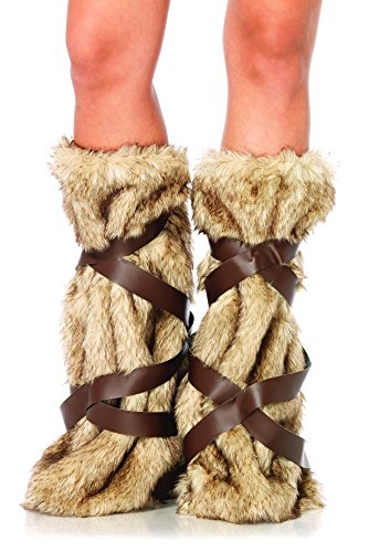 Leg Avenue Women's Warrior Fur Leg Warmers with Faux Leather Wrap Detail