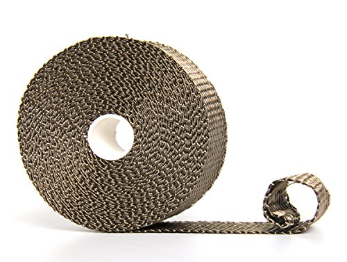 Hiwowsport Titanium Exhaust Heat Wrap Heat Shield Wrap with Twill Weave for Motorcycle Exhaust Manifold With Locking Ties (Motorcycle Exhaust Parts compare prices)
