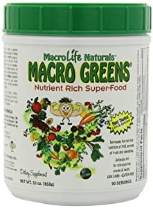 Macro Greens Nutrient-Rich Super Food Supplement, 90 Day Supply, 30 oz (850 g)