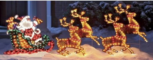 christmas outdoor decor holographic santa sleigh deer review - Hologram Outdoor Christmas Decorations