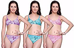 Vanila Wirefree Floral Print Non-Paddded Bra (Pack Of 3)- 30