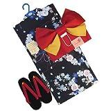 着物問屋 女の子ゆかたセットNo.417【桜や菊の花丸・黒色】 13~15才用(145cm)