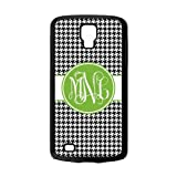 Personalized Black Houndstooth Chevron Pattern Vs Green Initials Unique Custom Samsung Galaxy S4 Active I9295 Best Durable PVC Cover Case