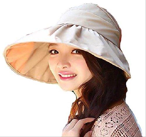 2015 夏 UV 対策 サンバイザー 帽子 便利 な 折りたたみ 紫外線 日よけ 麦わら キャップ レディース (ベージュ)