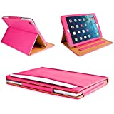 MOFRED Pink & Tan Apple iPad Air (Released November 2013) Leather Case-MOFRED- Executive Multi Function Leather Standby Case for Apple New iPad Air with Built-in magnet for Sleep & Awake Feature