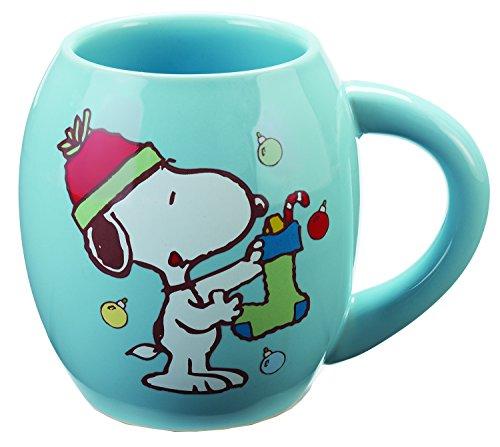 Vandor 85465 Peanuts Snoopy Holiday Oval Ceramic Mug, 18 oz, Multicolor