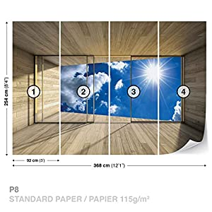 Window Sky Clouds Sun Nature - Photo Wallpaper - Wall Mural - Giant Wall Poster - XXL - 368cm x 254cm - Standard Paper (NOT EasyInstall) - 4 Pieces by Consalnet