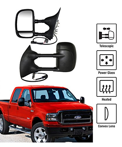 1999-2007 Ford F-250 F-350 Super Duty Towing Mirrors Pair Set Power Heated Glass With Convex Lens Dual Swing Telescoping Arms Square Plug Pickup Truck Side View Mirrors (2003 Ford F250 Mirrors Set Tow compare prices)