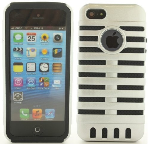 Silver Black Retro Elvis Style Microphone Cover Case For Apple Iphone 5