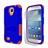 Beyond Cell Tri-Shield Hybrid Hard Shell and Silicone Case with Built-In Kickstand for Samsung Galaxy S4 - Retail Packaging - Dark Blue/Orange ~ Beyond Cell