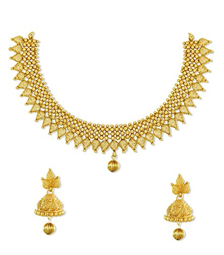 Zaveri Pearls Non-Precious Metal Gold Choker Necklace Set With Earring For Women/Girls