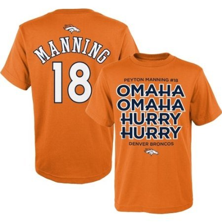 Peyton Manning Denver Broncos Youth Omaha Omaha Hurry Hurry T-Shirt Large 14-16 front-153741