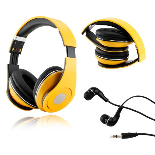 Gearonic Tm Yellow Adjustable Circumaural Over-Ear Earphone Stero Headphone 3.5Mm For Ipod Mp3 Mp4 Pc Iphone Music + Free Earbuds