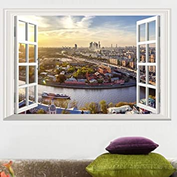 Buy D Window City View Art Home Decor Wall Sticker Wallpaper Wall - Window stickers for home india