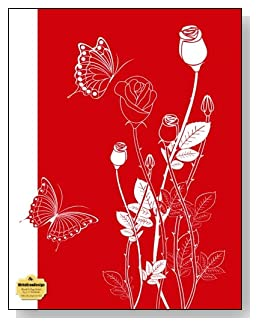 White Rosebuds On Red Notebook - Classy white and red drawing of rosebuds and butterflies make a dramatic cover for this blank and college ruled notebook with blank pages on the left and lined pages on the right.