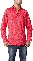 Passion Men's Slim Fit Casual Shirt (FS4973XLRDFS, Red, X-Large)