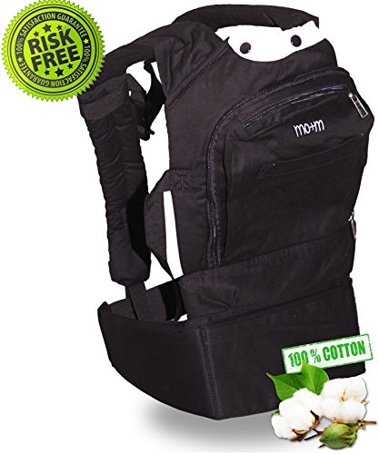 #1 Best Baby Carrier - The Mo+M Carrier - Rated 5/5 Stars ✮ Soft Structured, Ergonomic Baby Sling, Cotton ✮ 100% Satisfaction Guarantee ✮ Metro Black W/ Sleep Hood, Stylish For Mom & Dad ✮ Mesh Cooling Vent Keeps Baby Cool ✮ Storage Pocket For Your Keys O front-93991