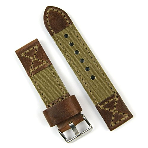 Hand Stitched Chestnut Leather Drab Olive Canvas Panerai Style Watchband 22mm Long