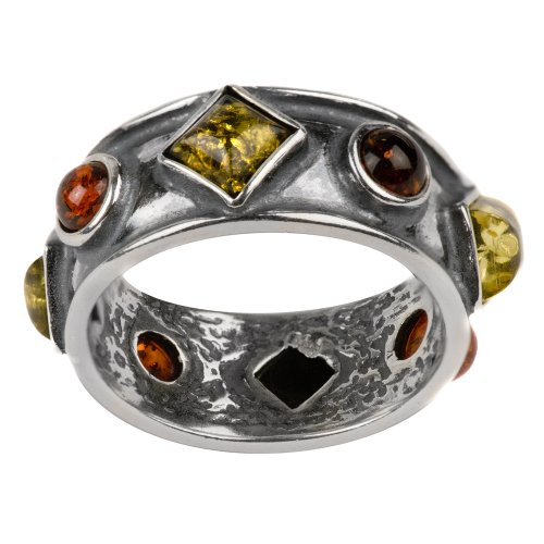 Natural Multicolor Amber Sterling Silver Magic Look Ring