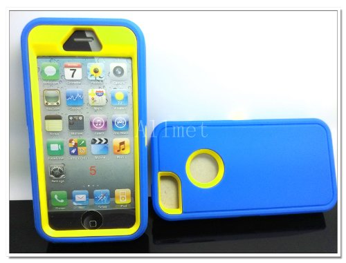 =>  Multi Color Iphone 5 5S Body Armor Silicone Hybrid Cove Hard Case, Three Layer Silicone PC Case Cover for iPhone 5 5S (Blue+Yellow)
