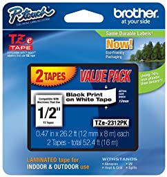 3 Pack Brother P-touch ~1/2-Inch Standard Laminated Tape, Black on White, 26.2-Feet (2 Pack)