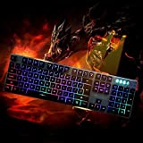 DMYCO Mechanical Feeling Backlit Keyboard LED Gaming Keyboard with Adjustable Backlight USB Wired Illuminated Computer Keyboard for PC Games Office (Multicolor Backlight) (Color: K2 Black)