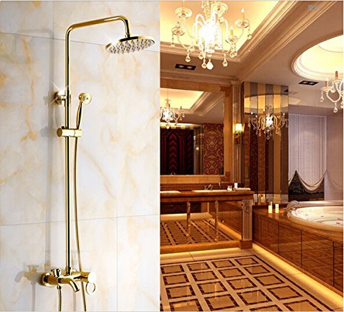 Rozinsanitary Golden Polish Shower Set Faucet Rain 8 inch Shower Head W/ Handheld Shower Single Handle Wall Mounted