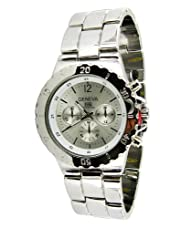 Geneva Decorative Chronograph and Bezel Link Watch-Silver