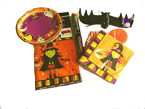 [Halloween Party Pack Bundle - Serves 18 Guests Plus Spooky Flying Bat - Streamers & Glow In The Dark] (Easy To Make Halloween Costume Ideas For Couples)