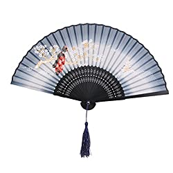 Generic Silk Sakura Kabuki Pattern Hand Fan Japanese Folding Pocket Fan Blue Pink