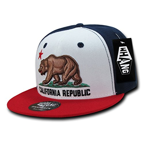 WHANG Cali Bear Classic Vintage Snapback Closure Cap_Wh/Nv/Rd_One Size (Nv Cali compare prices)