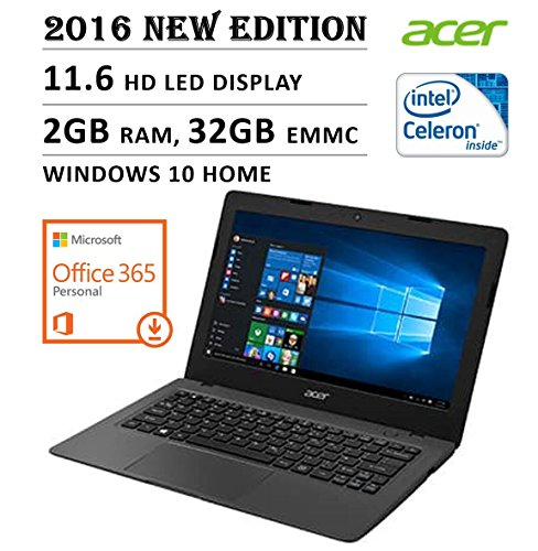 2016 NEW Edition Acer Aspire One 11 Cloudbook 11.6-inch Laptop, Intel Dual-Core Processor, 2GB RAM, 32GB EMMC, 1-year Office 365...